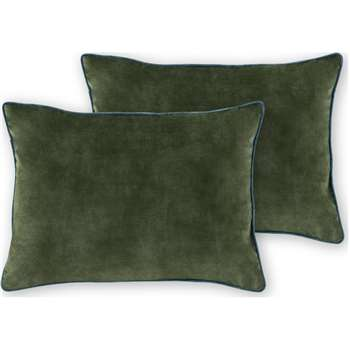 Castele Set of 2 Luxury Velvet Cushions, Dark Green with Teal Piping (H35 x W50cm)