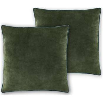 Castele Set of 2 Velvet Cushions, Dark Green (H50 x W50cm)