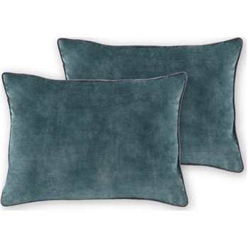 Castele Set of 2 Velvet Cushions, Dark Teal (H35 x W50cm)