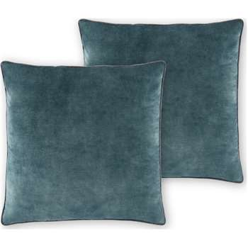 Castele Set of 2 Velvet Cushions, Dark Teal (H50 x W50cm)