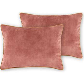 Castele Set of 2 Velvet Cushions, Deep Blush Pink (H35 x W50cm)