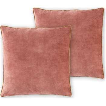 Castele Set of 2 Velvet Cushions, Deep Blush Pink (H50 x W50cm)
