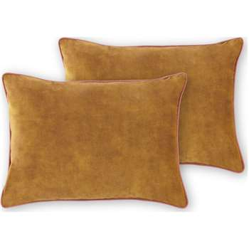 Castele Set of 2 Velvet Cushions, Warm Gold (H35 x W50cm)