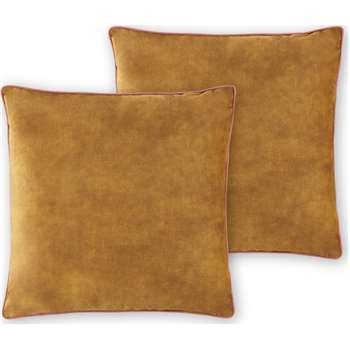 Castele Set of 2 Velvet Cushions, Warm Gold (H50 x W50cm)