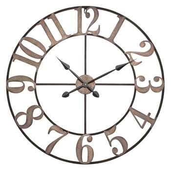 CASTILLY bleached effect metal clock (80 x 80cm)