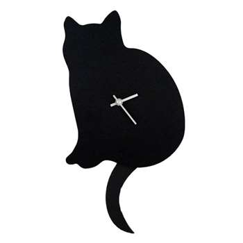 Cat Clock with Swaying Tail (H40 x W23cm)