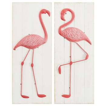 CATALINA 2 White Fir Pink Flamingo Pictures (H92 x W36 x D4cm)