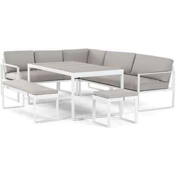 Catania Garden Corner Dining Set, White (H64 x W80 x D203cm)