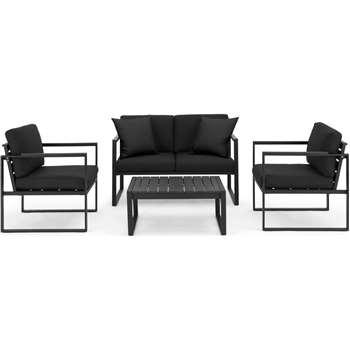Catania Garden Lounge Set, Black and  Polywood (H62 x W116 x D65cm)