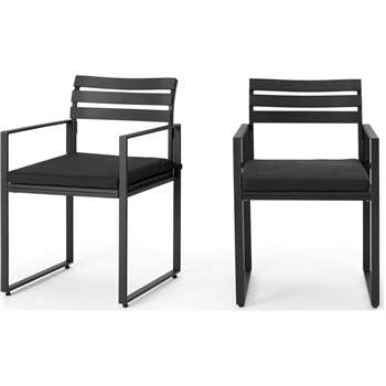 Catania Garden set of 2 Dining Chair, Black and  Polywood (H82 x W52 x D55cm)