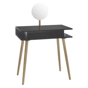 Cato Black dressing table with mirror (Width 75cm)