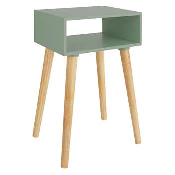 Cato Sage Green Side Table With Storage And Solid Wood Legs (H60 x W40 x D30cm)