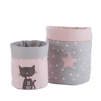 CATS 2 Grey and Pink Cotton Storage Baskets (H25 x W18 x D18cm)