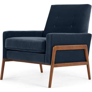 Cecil Accent Armchair, Cotton Velvet Navy (H82 x W75 x D80cm)