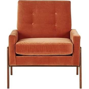 Cecil Armchair, Burnt Orange Cotton Velvet (86 x 79cm)