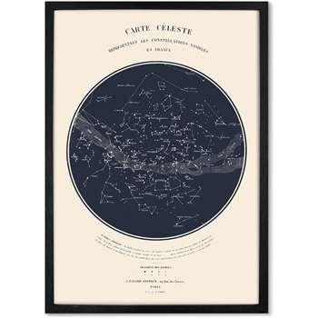 Celestial Carte du Ciel Framed A1 Constellation Wall Art Print, Navy (H86 x W61 x D2cm)