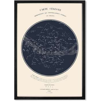 Celestial Carte du Ciel Framed A2 Constellation Wall Art Print, Navy (H62 x W44 x D2cm)