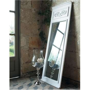 CÉLESTINE wooden trumeau mirror in white H 170cm
