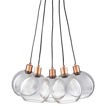 CELIA Copper-Coloured Metal and Glass 5-Bulb Pendant (H122 x W61 x D40cm)