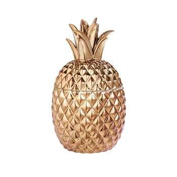 Ceramic Metallic Pineapple Pot - Gold (27.5 x 16cm)