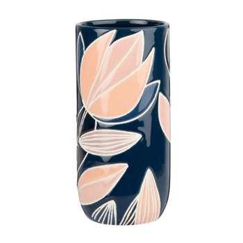 Ceramic Vase with Floral Print (H18 x W9 x D9cm)