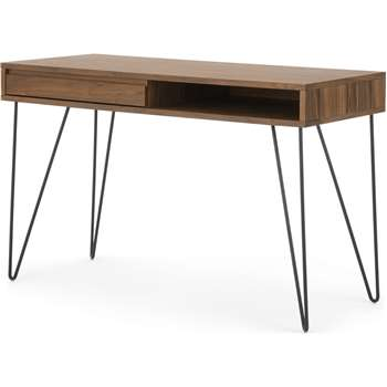Cerian Desk, Walnut and Black (H76 x W120 x D50cm)