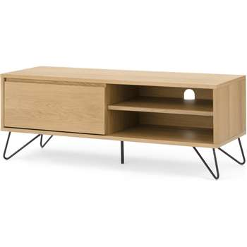Cerian media unit, Oak and Black (H46 x W120 x D40cm)