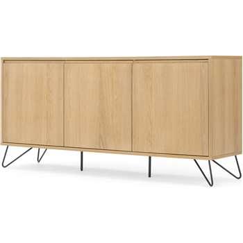Cerian Sideboard, Oak and Black (H76 x W160 x D40cm)