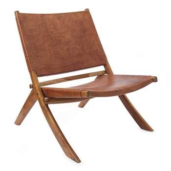 Chair Kamaru, Cognac (H70 x W80 x D66cm)