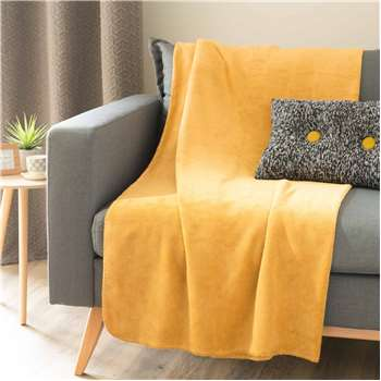 CHALEUR soft mustard yellow throw 150 x 230 cm