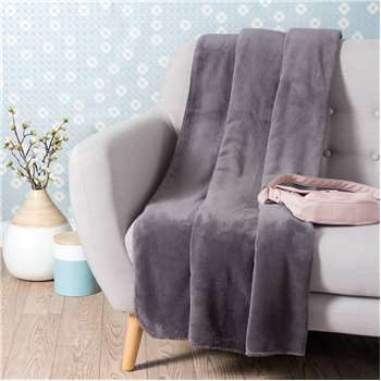 CHALEUR soft slate grey throw 150 x 230 cm