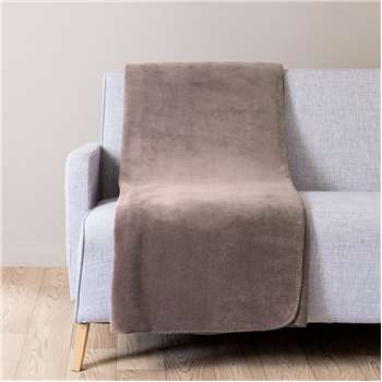CHALEUR taupe fabric throw 150 x 230 cm