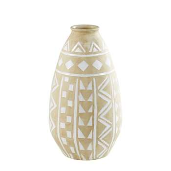 CHANDRAN Terra Cotta Outdoor Vase with White Motifs (75 x 43cm)