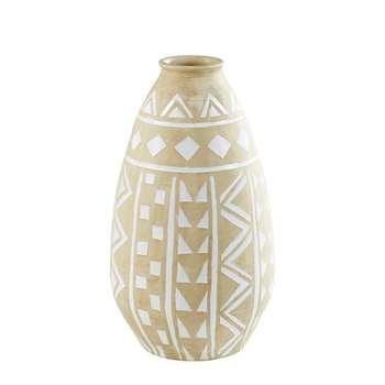 CHANDRAN Terra Cotta Outdoor Vase with White Motifs (75 x 43cm)