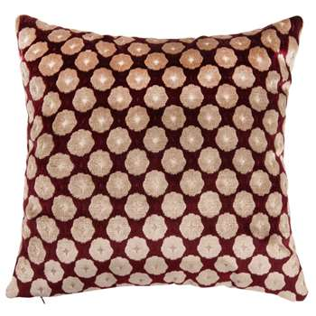 CHANIA Burgundy Cushion Cover with White Graphic Print (H40 x W40cm)