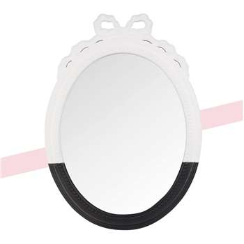 CHANTAL THOMASS Oval Black and White Mirror with Mouldings (H90 x W45 x D3cm)