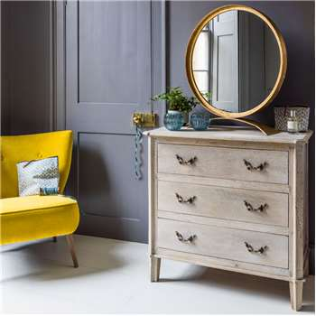 Chantilly Small Whitewashed Chest Of Drawers (H80 x W85 x D45cm)