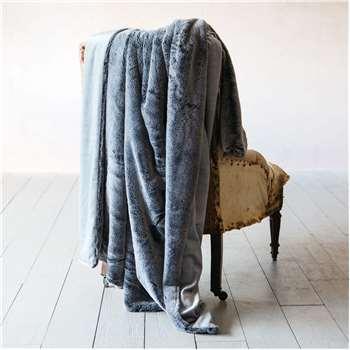Charcoal Tipped Faux Fur Throw (H130 x W170cm)