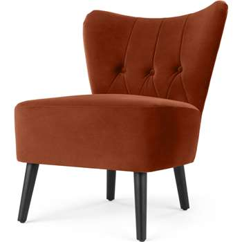Charley Accent Armchair, Nutmeg Orange Velvet (H77 x W63 x D68cm)