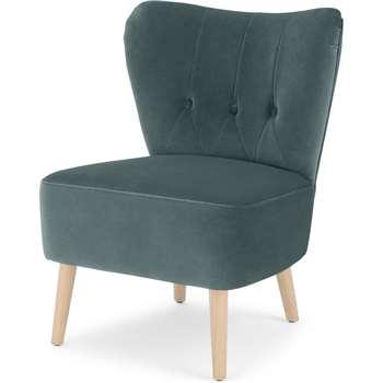 Charley Accent Chair, Marine Green Velvet (H77 x W63 x D68cm)