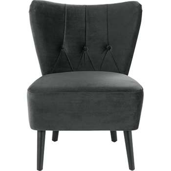 Charley Accent Chair, Midnight Grey Velvet (77 x 63cm)