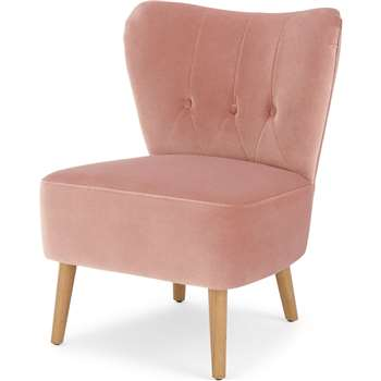 Charley Accent Chair, Vintage Pink Velvet (H77 x W63 x D68cm)
