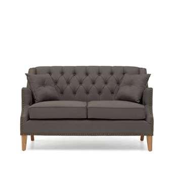 Charlotte Chesterfield Grey Linen Fabric 2 Seater Sofa (91 x 145cm)