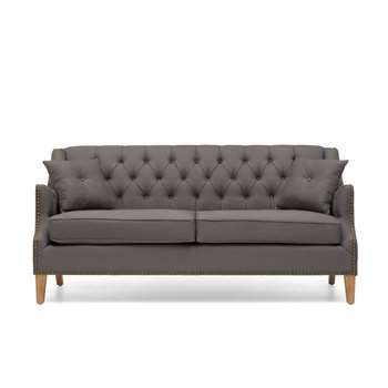 Charlotte Chesterfield Grey Linen Fabric 3 Seater Sofa (91 x 189cm)