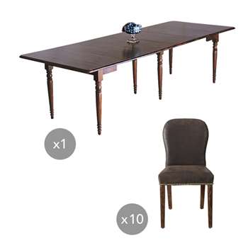 Charlotte Table and Stafford Chair Set - Brown (80 x 110-290cm)