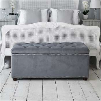 Chatsworth Storage Ottoman - Light Grey Velvet (H47 x W110 x D43cm)