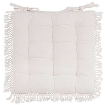 CHEBIKA White Cotton Chair Pad (40 x 40cm)
