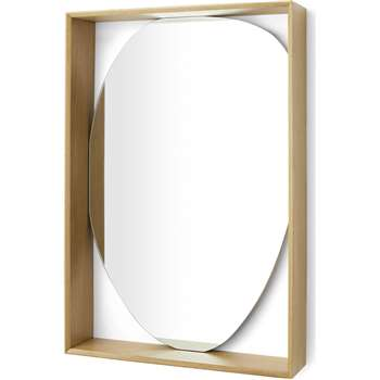 Chene Oak Wood Mirror with Shelf, Natural (H81 x W54 x D13cm)