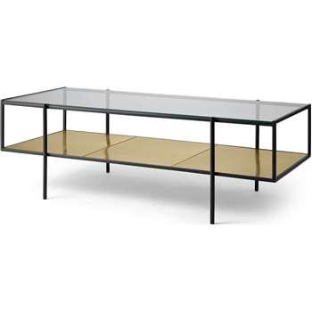 Cheney Coffee Table, Glass & Brass (H40 x W120 x D54cm)