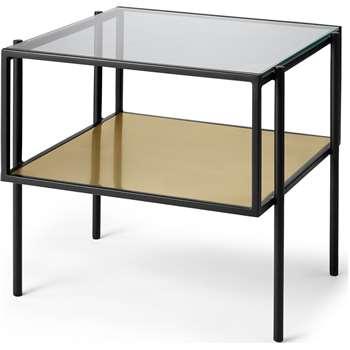 Cheney Side Table, Glass & Brass (H46 x W48 x D45cm)
